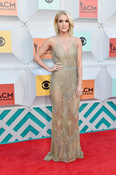 Carrie Underwood in Golden Davidson Zanine in 2016
