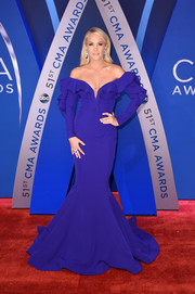 Carrie Underwood was easily the star of the show in this purple off-the-shoulder mermaid gown at the 2017 CMA Awards.