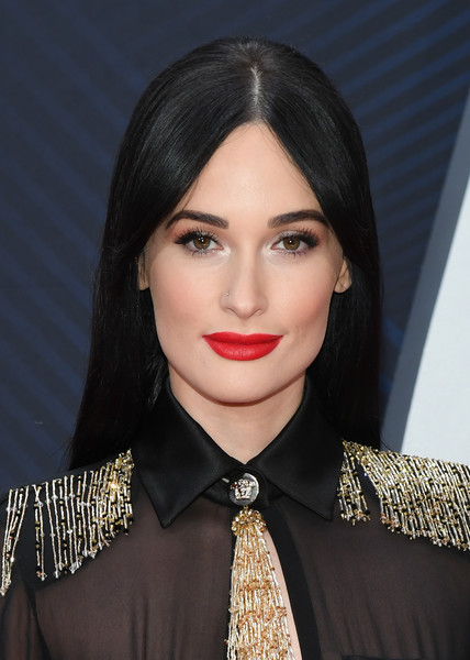 More Pics of Kacey Musgraves Long Straight Cut (1 of 4) - Long Hairstyles Lookbook - StyleBistro [hair,face,lip,hairstyle,eyebrow,beauty,black hair,chin,forehead,lipstick,arrivals,kacey musgraves,cma awards,nashville,tennessee,bridgestone arena]