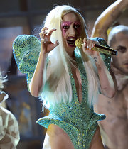 Lady Gaga polished her tips with a winter white hue while preforming on stage.