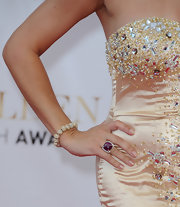 Crystal Allen piled on the sparklies at the Monte Carlo TV Festival closing ceremony, wearing an elegant diamond bracelet with her heavily beaded dress.