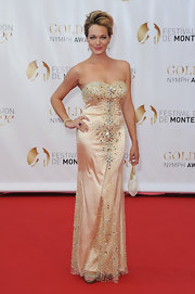 Crystal Allen was a stunner in her beaded strapless gown at the Monte Carlo TV Festival closing ceremony.