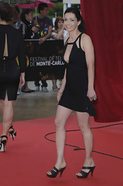 Adeline Blondieau's black platform sandals and LBD were a totally sultry pairing.