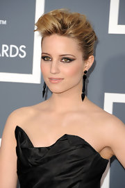 Dianna Agron highlighted her sleek look with ornate black dangle earrings.