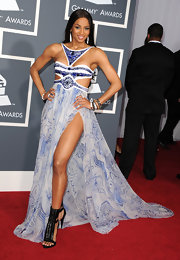 Ciara was a daring diva in a blue and white cut-out evening gown with a delicate chiffon skirt.
