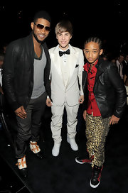 Jaden Smith paired leopard-print pants with a leather jacket for a bold look during the Grammys.