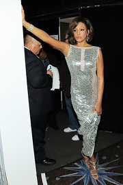 Whitney Houston went metallic from head to toe as she matched her silver dress with a pair of strappy heels at the Grammy Awards.