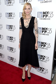 Cate Blanchett got inked? The actress almost had us fooled when she wore this Aouadi Couture LBD, featuring a sheer yoke and sleeves embroidered with a tattoo-like design, to the New York Film Fest premiere of 'Carol.'