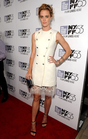 Mackenzie Davis made a chic choice with this double-breasted white Balenciaga LWD, made more feminine with the addition of a lacy skirt underlay, for the New York Film Festival premiere of 'The Martian.'