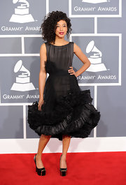 Corinne Bailey Rae wore this richly ruffled cocktail dress to the Grammy Awards.