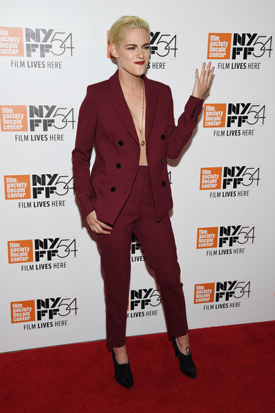 Kristen Stewart rocked a wine-red Sandro suit sans shirt at the New York Film Festival premiere of 'Certain Women.'