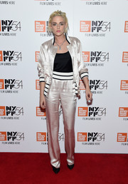Kristen Stewart looked effortlessly chic in a sporty satin suit by Chanel at the 'Personal Shopper' Q&A during the New York Film Festival.