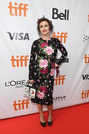 Helena Bonham Carter went ultra feminine in this rose-print sheath dress by Dolce & Gabbana at the world premiere of '55 Steps.'