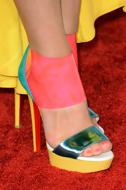 Carrie Keagan played with color with these funky pink, blue and yellow pumps.