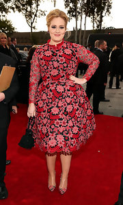 Yay! Adele wore color for the Grammys! What a gorgeous red cocktail dress.