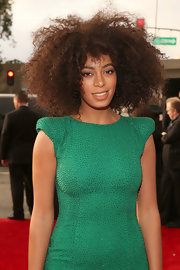 Solange Knowles showed off her natural curls with a long, almost afro-like cut at the 2013 Grammys.