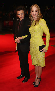 Helen Hunt's sparkly black clutch added even more texture to her varied look.
