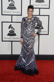 Paula Patton went the wild route in a zebra-patterned, beaded gown by Nicolas Jebran during the Grammys.