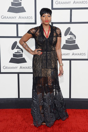 Fantasia Barrino looked divine at the Grammys in a sheer black lace gown with a nude underlay.