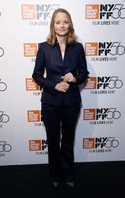 Jodie Foster kept it low-key in a midnight-blue pantsuit at the 2018 New York Film Festival.