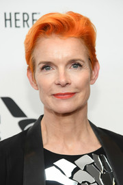Sandy Powell caught eyes with her bright orange fauxhawk at the New York Film Festival premiere of 'The Favourite.'