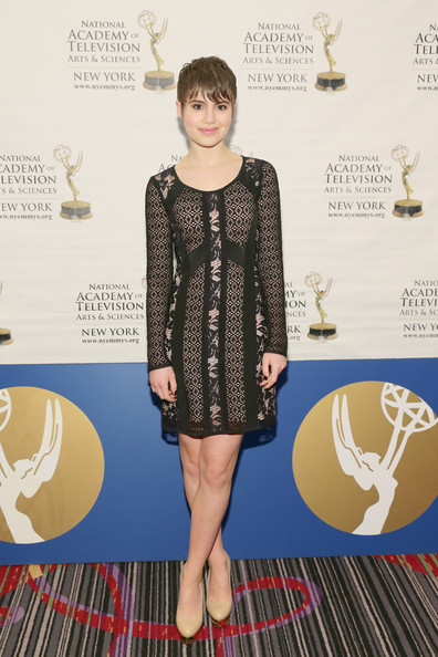 Sami Gayle attended the New York Emmy Awards looking cute in a mixed-pattern lace-overlay LBD.
