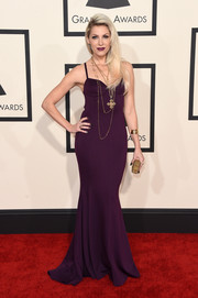 Bonnie McKee went for simple sophistication at the Grammys in an aubergine gown by Chagoury Couture.
