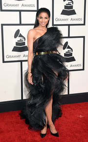 Ciara was a sight to behold at the Grammys in an Alexandre Vauthier Couture one-shoulder gown rendered in swirls and swirls of black tulle.