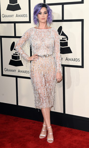 Katy Perry was sultry-glam at the Grammys in a sheer, beaded cocktail dress by Zuhair Murad Couture.