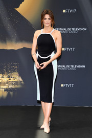 Stana Katic showed off her slim figure in a form-fitting black-and-white dress at the Monte Carlo TV Festival.