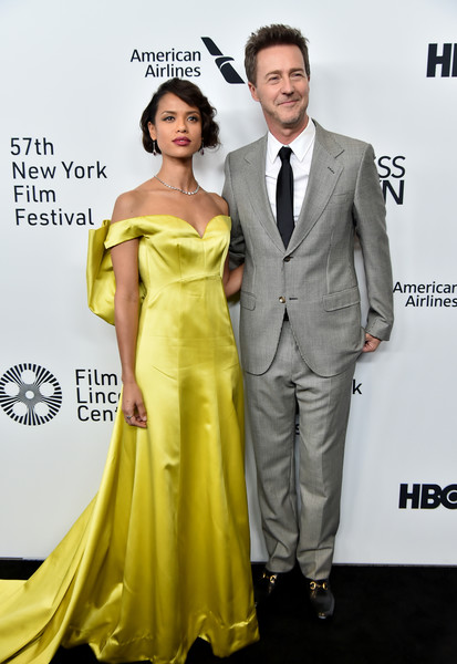 More Pics of Gugu Mbatha-Raw Dangling Gemstone Earrings (5 of 20) - Dangle Earrings Lookbook - StyleBistro [motherless brooklyn,suit,clothing,dress,shoulder,yellow,formal wear,premiere,carpet,tuxedo,fashion,arrivals,gugu mbatha-raw,edward norton,new york city,new york film festival]