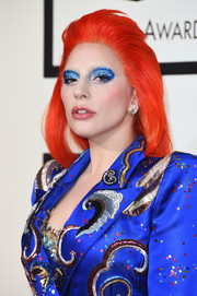 Lady Gaga's orange wig made a gorgeous color contrast to her blue outfit.