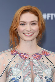 Eleanor Tomlinson was edgy-glam with her loose, messy updo at the 2018 Monte Carlo TV Festival.