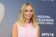Joanne Froggatt wore her hair in a shoulder-length style with barely-there waves at the 2018 Monte Carlo TV Festival.