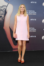 Joanne Froggatt was cute and retro in a collared pink shift dress by Goat at the 2018 Monte Carlo TV Festival.