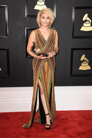 Paris Jackson paired her jumpsuit with forest-green suede platform sandals, also by Balmain.