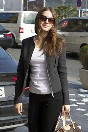 Maria Valverde kept it low-key at the San Sebastian Film Festival with a charcoal zip-up jacket over a white tee.