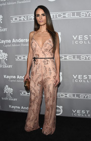 Jordana Brewster was all about easy sophistication in this beaded blush jumpsuit by Monique Lhuillier at the Baby2Baby Gala.