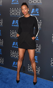 Aisha Tyler was sporty-sexy at the Critics' Choice Television Awards in a super-short LBD with striped sleeves.