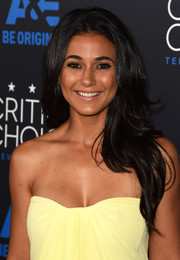 Emmanuelle Chriqui wore her hair down in a cascade of waves when she attended the Critics' Choice Television Awards.