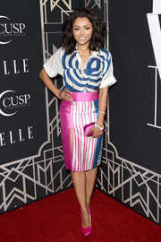 Kat Graham finished off her chic color-blocked ensemble with pink Brian Atwood pumps.
