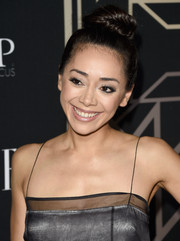 Aimee Garcia swept her hair up into a towering top-knot for the Elle Women in Music celebration.