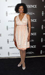 Kim Wayans wore this blush embroidered frock with fishnet tights to the Essence Luncheon.