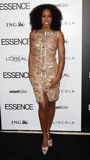 Kelly Rowland wore this bronze beaded cocktail dress to the Essence Luncheon.