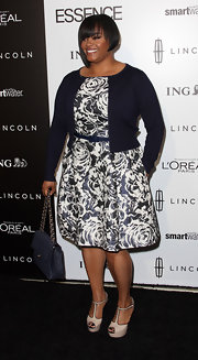 Jill Scott wore this floral print dress with a navy cardigan to the Essence Luncheon.