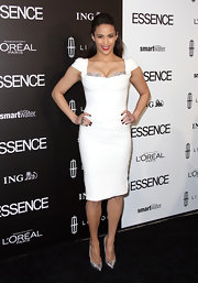 Paula Patton wore this white cocktail dress with a lace bustier to the Essence Luncheon.