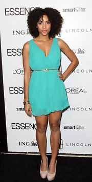 Annie Ilonzeh looked ready for spring in this aqua pleated mini at the Essence Luncheon.