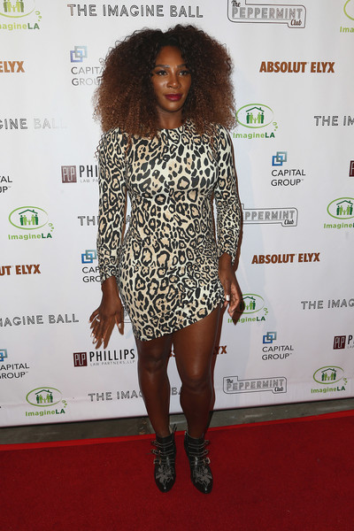 More Pics of Serena Williams Studded Boots (1 of 9) - Serena Williams Lookbook - StyleBistro [clothing,shoulder,carpet,red carpet,dress,fashion,hairstyle,long hair,footwear,cocktail dress,john terzian,val vogt,serena williams,serena williams benefiting imagine la,the peppermint club,california,los angeles,imagine ball]