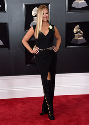 Nancy O'Dell donned a body-con black Lanvin dress with a high front slit for the 2018 Grammys.