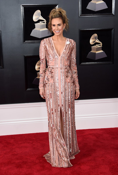 Keltie Knight made a fabulous choice with this pink stars-and-stripes sequin gown by Elie Saab for the 2018 Grammys.